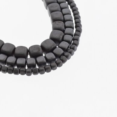 Hematite, Reconstituted, Matte Rounded Cube Bead, Black, 39-40 cm/strand, 2 mm