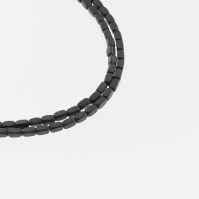Hematite, Reconstituted, Matte Rounded Square Tube Bead, Black, 39-40 cm/strand, 2x4 mm
