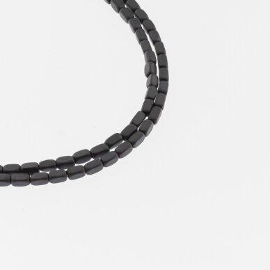 Hematitas, regeneruotas, matinis, suapvalinto kvadratinio vamzdžio forma, juoda spalva, 39-40 cm/gija, 2x4 mm