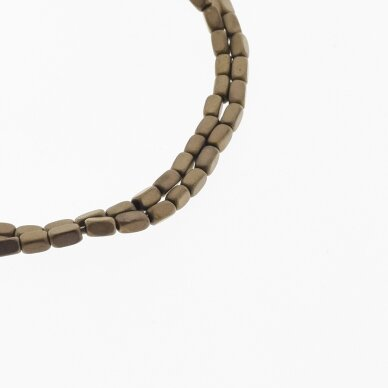 Hematite, Reconstituted, Matte Rounded Square Tube Bead, Brown, 39-40 cm/strand, 2x4 mm