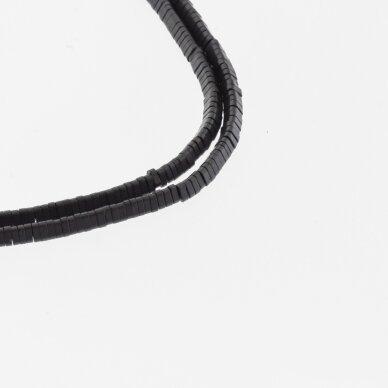 Hematitas, regeneruotas, matinis, trikampio rondelės forma, juoda spalva, 39-40 cm/gija, 3x1 mm