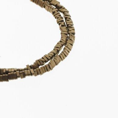 Hematite, Reconstituted, Matte Triangle Rondelle Bead, Brown, 39-40 cm/strand, 3x1 mm
