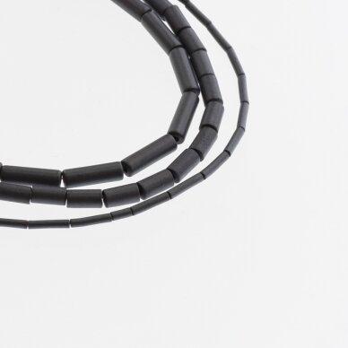 Hematite, Reconstituted, Matte Tube Bead, Black, 39-40 cm/strand, 1x2 mm