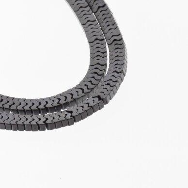 "Hematite, Reconstituted, Matte Flat ""W"" Bead, Black, 39-40 cm/strand, 7x1 mm"