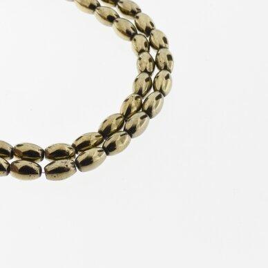 Hematite, Reconstituted, Oval Bead, Khaki Gold, 39-40 cm/strand, 3x5, 4x6, 5x8 mm