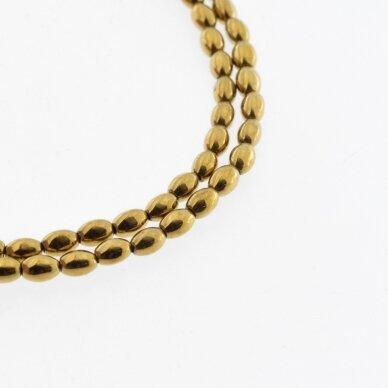 Hematitas, regeneruotas, ovalo-ryžio forma, tamsaus aukso spalva, 39-40 cm/gija, 3x5 mm