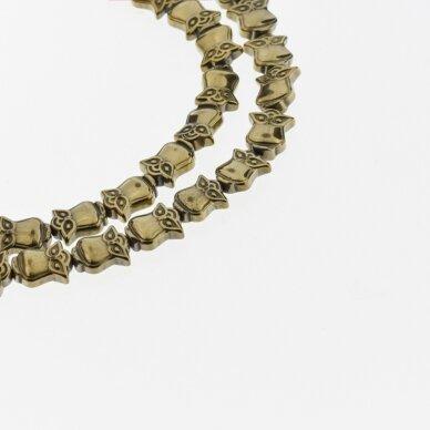 Hematitas, regeneruotas, pelėdos forma, Chaki aukso spalva, 39-40 cm/gija, 8x10 mm