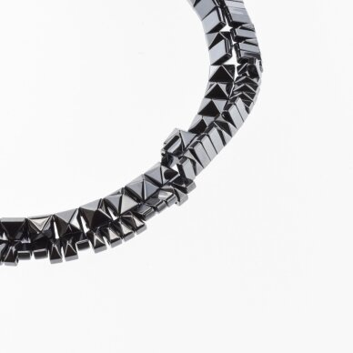 Hematite, Reconstituted, Pyramid Bead, Double Drilled, Black, 39-40 cm/strand, 6x3 mm