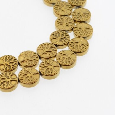 Hematite, Reconstituted, Flat Tree of Life Bead, Dark Gold, 39-40 cm/strand, 10 mm