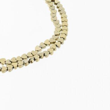 Hematitas, regeneruotas, plokščia širdelės forma, Chaki aukso spalva, 39-40 cm/gija, 4, 6 mm