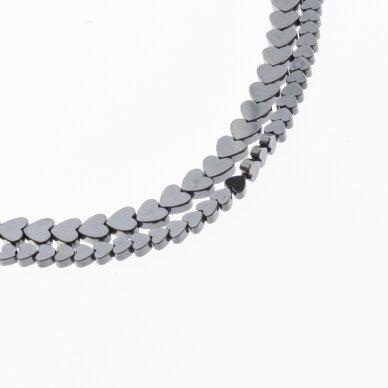 Hematite, Reconstituted, Flat Heart Bead, Black, 39-40 cm/strand, 4 mm