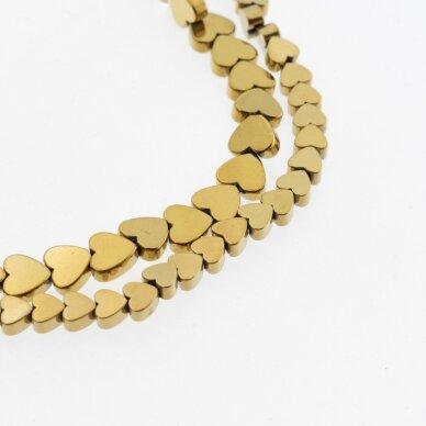 Hematitas, regeneruotas, plokščia širdelės forma, tamsaus aukso spalva, 39-40 cm/gija, 4 mm