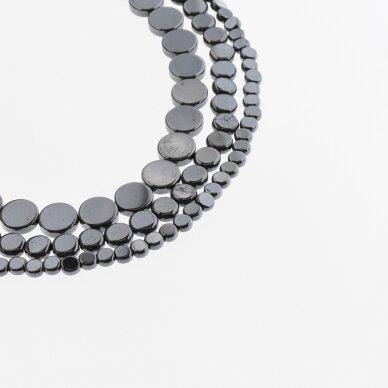 Hematitas, regeneruotas, plokščio disko forma, juoda spalva, 39-40 cm/gija, 4, 6, 8, 10 mm