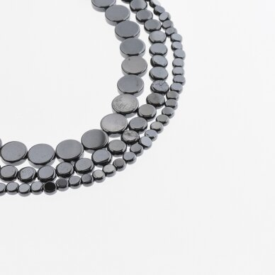 Hematite, Reconstituted, Flat Disc Bead, Black, 39-40 cm/strand, 4 mm
