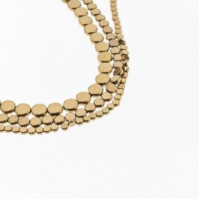 Hematite, Reconstituted, Flat Disc Bead, Brown, 39-40 cm/strand, 4 mm