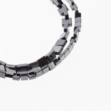Hematite, Reconstituted, Flat Square Bead, Black, 39-40 cm/strand, 4 mm
