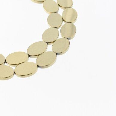 Hematitas, regeneruotas, plokščio ovalo forma, Chaki aukso spalva, 39-40 cm/gija, 13x18 mm