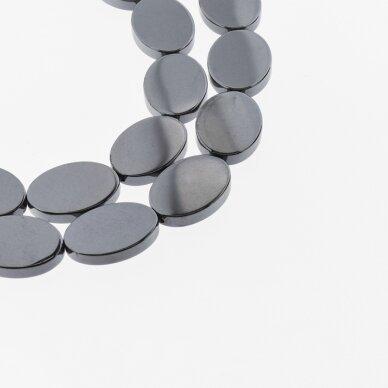 Hematitas, regeneruotas, plokščio ovalo forma, juoda spalva, 39-40 cm/gija, 13x18 mm