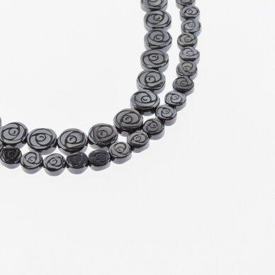 Hematitas, regeneruotas, plokščio rožės forma, juoda spalva, 39-40 cm/gija, 6, 8 mm