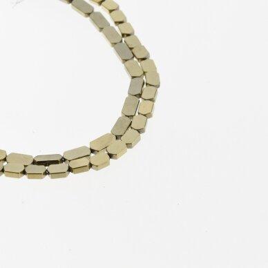 Hematitas, regeneruotas, plokščio šešiakampio forma, Chaki aukso spalva, 39-40 cm/gija, 3x5, 4x4, 4x6, 4x8 mm