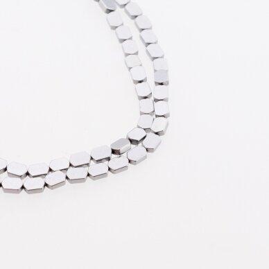 Hematite, Reconstituted, Flat Hexagon Bead, Nickel Grey, 39-40 cm/strand, 3x5, 4x4, 4x6, 4x8 mm