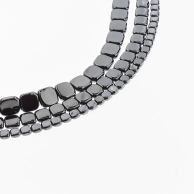 Hematite, Reconstituted, Flat Rounded Square Bead, Black, 39-40 cm/strand, 3 mm