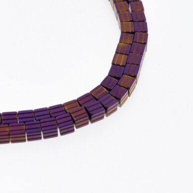 Hematite, Reconstituted, Grooved Cube Bead, Purple, 39-40 cm/strand, 3.5 mm