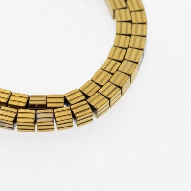 Hematite, Reconstituted, Grooved Cube Bead, Dark Gold, 39-40 cm/strand, 3.5 mm