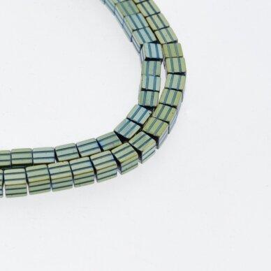 Hematitas, regeneruotas, raižyto kubo forma, žalia spalva, 39-40 cm/gija, 3.5 mm