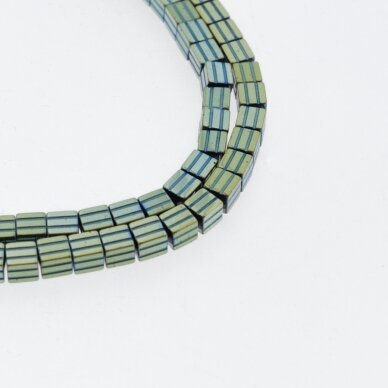 Hematite, Reconstituted, Grooved Cube Bead, Green, 39-40 cm/strand, 3.5 mm