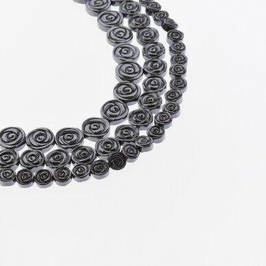Hematitas, regeneruotas, rožės forma, juoda spalva, 39-40 cm/gija, 6, 8, 10 mm
