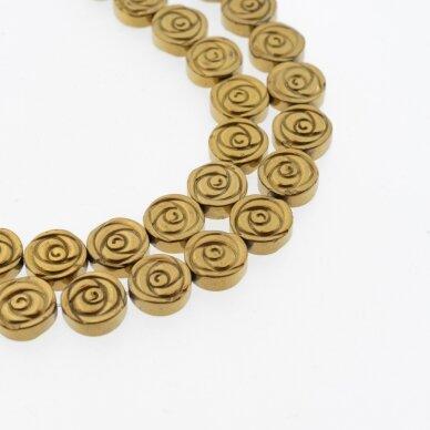 Hematitas, regeneruotas, rožės forma, tamsaus aukso spalva, 39-40 cm/gija, 6 mm