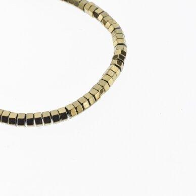 Hematitas, regeneruotas, šešiakampio rondelės forma, Chaki aukso spalva, 39-40 cm/gija, 2x1, 3x1, 3x2, 4x1, 5x1, 6x2, 6x3 mm