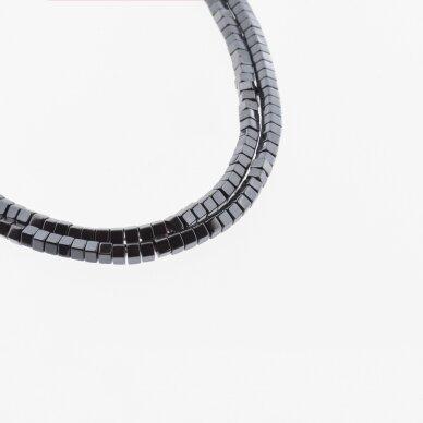 Hematitas, regeneruotas, šešiakampio rondelės forma, juoda spalva, 39-40 cm/gija, 2x1, 3x1, 3x2, 4x1, 5x1, 6x2, 6x3 mm