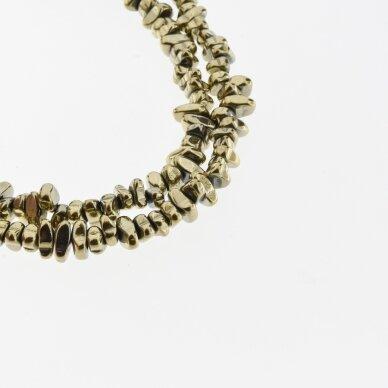 Hematitas, regeneruotas, skaldos forma, Chaki aukso spalva, 39-40 cm/gija, apie 5-8, 8-12 mm
