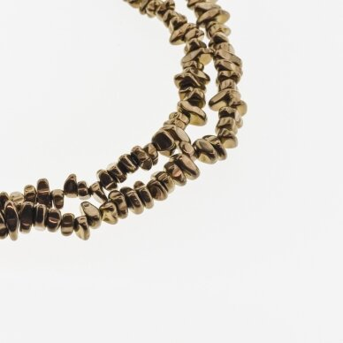 Hematitas, regeneruotas, skaldos forma, ruda spalva, 39-40 cm/gija, apie 5-8, 8-12 mm