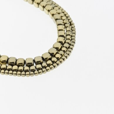 Hematitas, regeneruotas, suapvalinto kubo forma, Chaki aukso spalva, 39-40 cm/gija, 2, 3, 4, 6, 8 mm