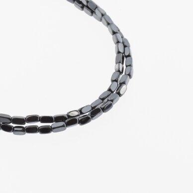 Hematitas, regeneruotas, suapvalinto kvadratinio vamzdžio forma, juoda spalva, 39-40 cm/gija, 2x4 mm