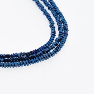 Hematitas, regeneruotas, sulenkto kvadrato rondelės forma, mėlyna spalva, 39-40 cm/gija, 2x1 mm