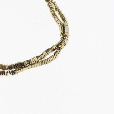 Hematitas, regeneruotas, trikampio rondelės forma, Chaki aukso spalva, 39-40 cm/gija, 3x1 mm