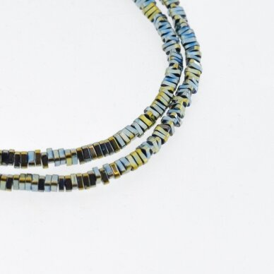 Hematite, Reconstituted, Triangle Rondelle Bead, Green, 39-40 cm/strand, 3x1 mm
