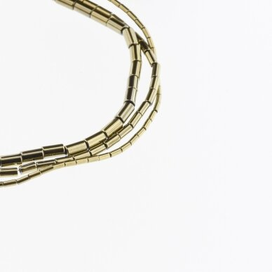 Hematite, Reconstituted, Tube Bead, Khaki Gold, 39-40 cm/strand, 1x2, 1x3, 1x4, 1x6, 2x4, 3x5, 3x9, 4x6, 4x8, 6x6, 6x8 mm
