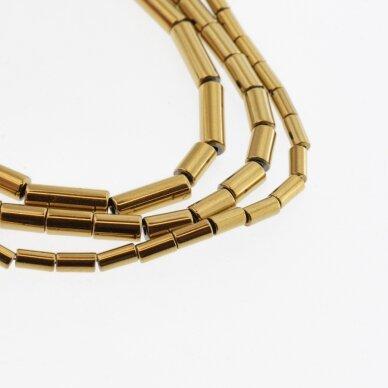Hematite, Reconstituted, Tube Bead, Dark Gold, 39-40 cm/strand, 1x2 mm