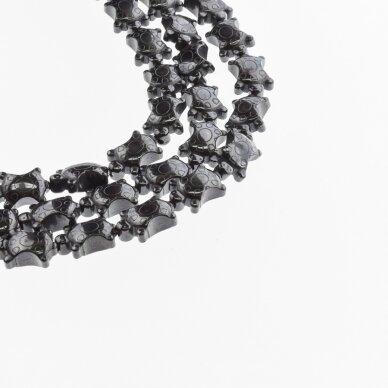 Hematitas, regeneruotas, vėžlio forma, juoda spalva, 39-40 cm/gija, 10x14 mm