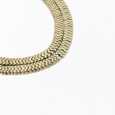 "Hematite, Reconstituted, Flat ""W"" Bead, Khaki Gold, 39-40 cm/strand, 7x1, 6x4 mm"