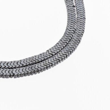 "Hematite, Reconstituted, Flat ""W"" Bead, Black, 39-40 cm/strand, 7x1 mm"