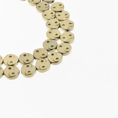 Hematitas, regeneruotas, Yin-Yang simbolio forma, Chaki aukso spalva, 39-40 cm/gija, 10 mm