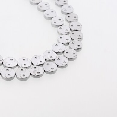 Hematitas, regeneruotas, Yin-Yang simbolio forma, nikelio spalva, 39-40 cm/gija, 10 mm
