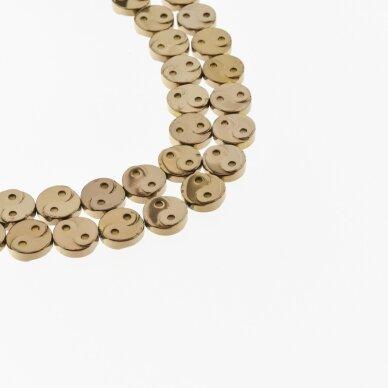 Hematite, Reconstituted, Yin-Yang Symbol Bead, Brown, 39-40 cm/strand, 10 mm