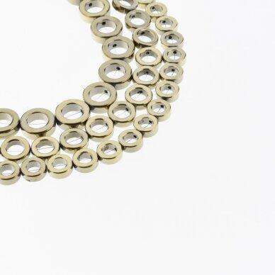 Hematitas, regeneruotas, žiedo forma, Chaki aukso spalva, 39-40 cm/gija, 8, 10, 12, 14, 16 mm